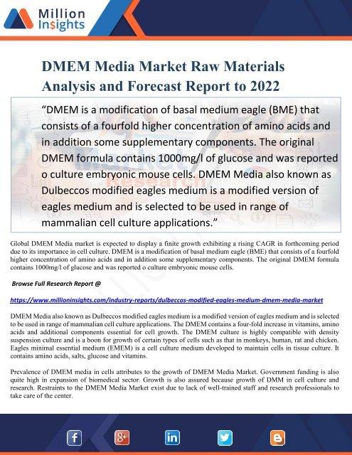 DMEM Media Market Raw Materials Analysis and Forecast Report