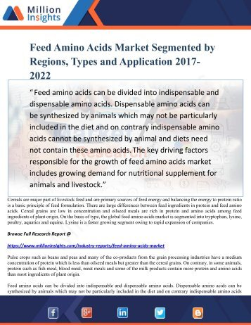Feed Amino Acids Market Segmented by Regions, Types and Application 2017-2022