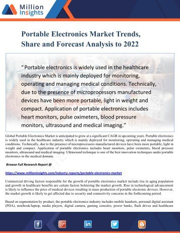 Portable Electronics Market Trends, Share and Forecast Analysis to 2022