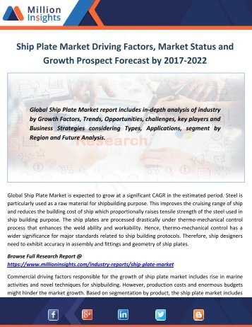 Ship Plate Market Driving Factors, Market Status and Growth Prospect Forecast by 2017-2022