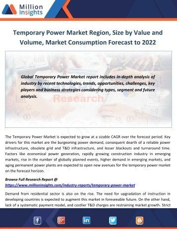 Temporary Power Market Region, Size by Value and Volume, Market Consumption Forecast to 2022