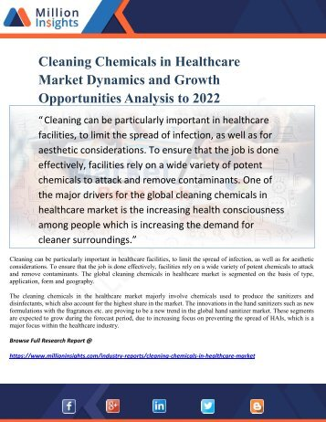 Cleaning Chemicals in Healthcare Market Dynamics and Growth Opportunities Analysis to 2022