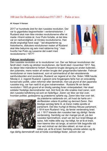 100 året for Ruslands revolutioner 1917-2017  – Putin er tavs