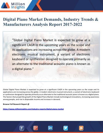 Digital Piano Market Demands, Industry Trends & Manufacturers Analysis Report 2017-2022