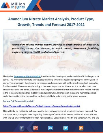 Ammonium Nitrate Market 2012-2022 Analysis by Applications, Types and Opportunity Assessment