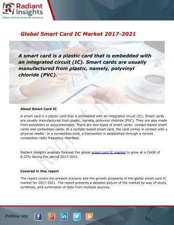 Smart Card IC Market Size, Share, Trends, Analysis and Forecast Report to 2021:Radiant Insights, Inc