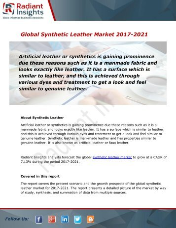 Synthetic Leather Market Size, Share, Trends, Analysis and Forecast Report to 2021:Radiant Insights, Inc