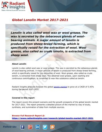 Lanolin Market Size, Share, Trends, Analysis and Forecast Report to 2021:Radiant Insights, Inc