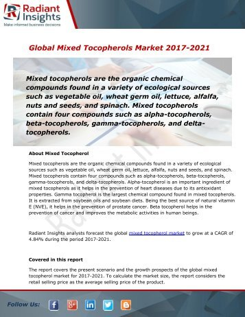 Mixed Tocopherols Market Size, Share, Trends and Forecast Report to 2021:Radiant Insights, Inc