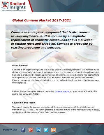 Cumene Market Size, Share, Trends, Analysis and Forecast Report to 2021:Radiant Insights, Inc