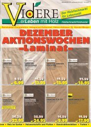 Dezember Aktionswochen bei VIDERE Holzfachmarkt