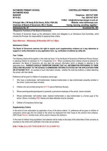 Rathmore P1 Enrolment Criteria 2018