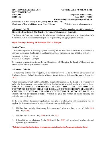 Rathmore Nursery Enrolment Criteria 2018