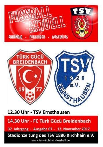 12.11.2017 Stadionzeitung FC Türk Gücü Breidenbach / TSV Ernsthausen