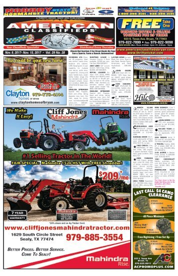 American Classifieds Nov. 9th Edition Bryan/College Station