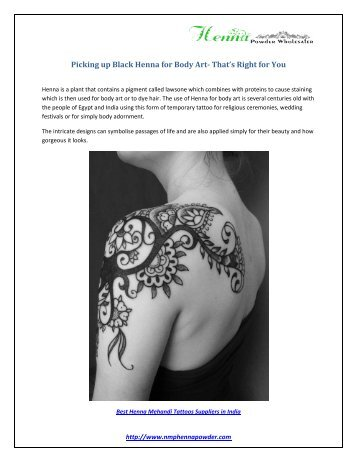 Picking up Black Henna for Body Art- That's Right for You