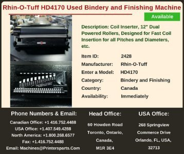 Buy Used Rhin-O-Tuff HD4170 Bindery and Finishing Machine
