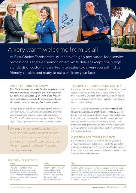 First Choice Foodservice Care Home Brochure