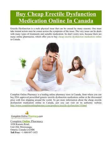 Buy Cheap Erectile Dysfunction Medication Online In Canada