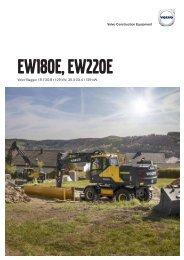 Volvo Mobilbagger EW180E-EW220E Datenblatt Produktbeschreibung