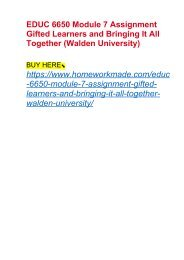 EDUC 6650 Module 7 Assignment Gifted Learners and Bringing It All Together (Walden University)