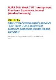 NURS 6540 Week 11 Practicum Experience Journal (Walden University)