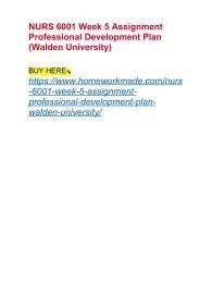 NURS 6001 Week 5 Assignment Professional Development Plan (Walden University)