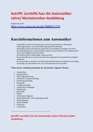 Automatiker-Lehre: Technik-Begriffe-Erklaerungen