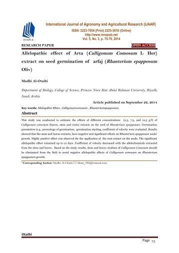 Allelopathic effect of Arta (Calligonum Comosum L, Her) extract on seed germination of arfaj (Rhanterium epapposum Oliv)