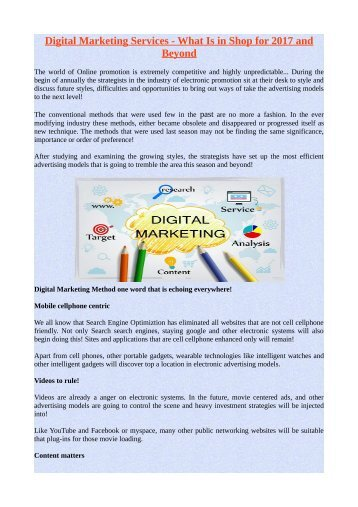 Digital Marketing Services - What Is in Shop for 2017 and Beyond