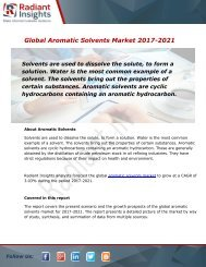 Aromatic Solvents Market Size, Share, Trends, Analysis and Forecast Report to 2021:Radiant Insights, Inc
