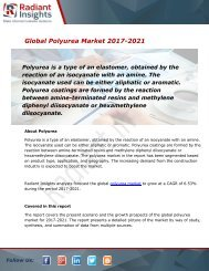 Polyurea Market Size, Share, Trends, Analysis and Forecast Report to 2021:Radiant Insights, Inc