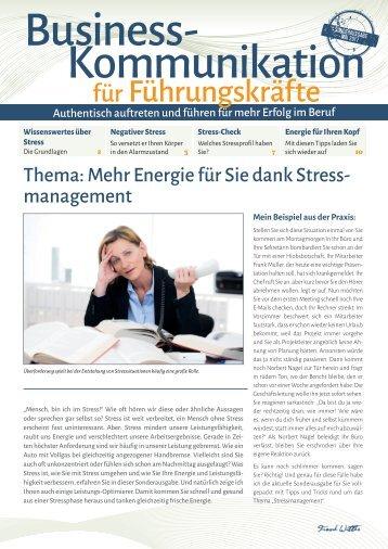 Mehr Energie für Sie dank Stress-Management