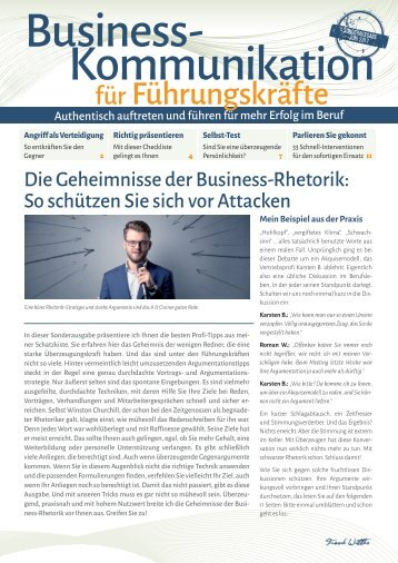 Die Geheimnisse der Business-Rhetorik. So schützen Sie sich vor Attacken!