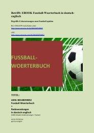 Fussball-Woerterbuch: deutsch-englisch Begriffe-Uebersetzungen