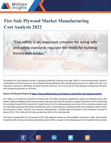 Fire Safe Plywood Market Manufacturing Cost Analysis 2022