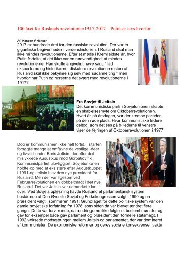 100 året for Ruslands revolutioner1917-2017 – Putin er tavs hvorfor