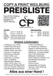 Preisliste - Copy und Print Weilburg