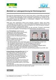 Merkblatt zur Ladungssicherung bei Kleintransportern