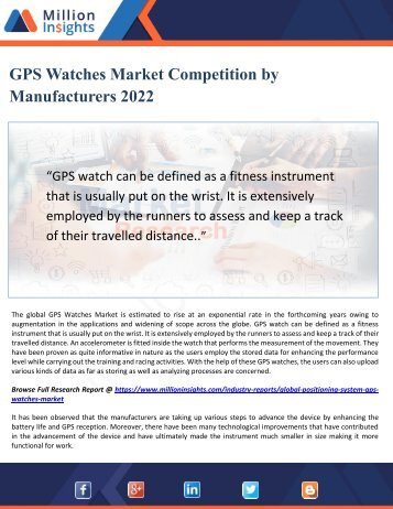 GPS Watches Market Competition by Manufacturers 2022