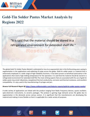 Gold-Tin Solder Pastes Market Analysis by Regions 2022