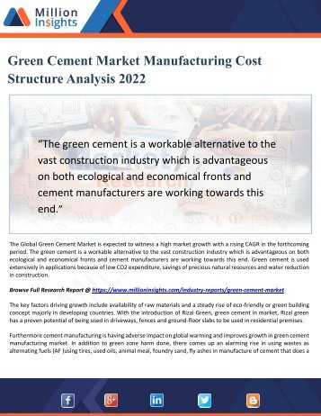 Green Cement Market Manufacturing Cost Structure Analysis 2022