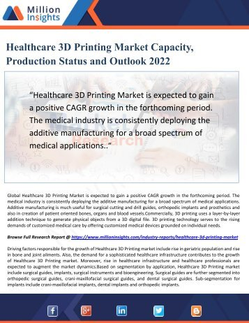 Healthcare 3D Printing Market Capacity, Production Status and Outlook 2022