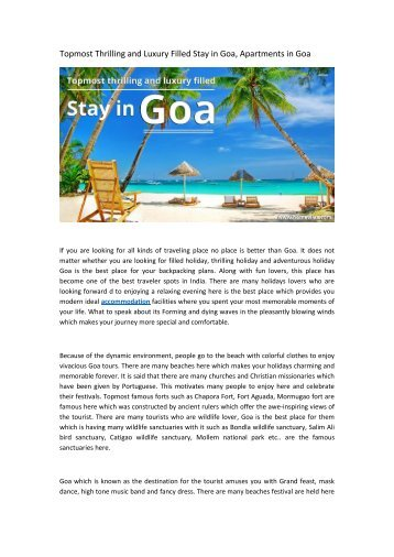 Topmost Thrilling and Luxury Filled Stay in Goa, Apartments in Goa