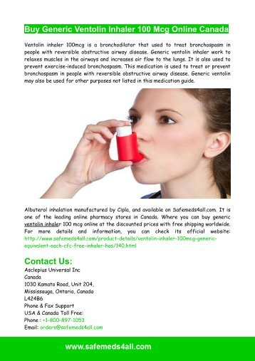 Buy Generic Ventolin Inhaler 100 Mcg Online Canada