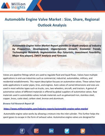 Automobile Engine Valve Market: Applications, Types and Market Analysis including Growth, Trends and Forecasts to 2021