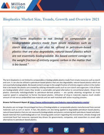 Bioplastics Market Size, Trends, Growth and Overview 2021