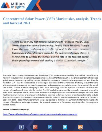 Concentrated Solar Power (CSP) Market size, analysis, Trends and forecast 2021