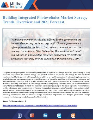 Building Integrated Photovoltaics Market Survey, Trends, Overview and 2021 Forecast