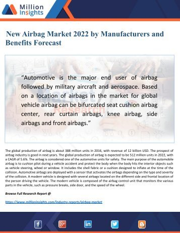 Airbag Market 2022 Discover new Industry Opportunities and Key Trends